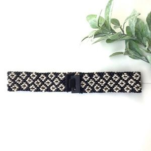 Vintage Stretch Black and White Wooden Bead Belt